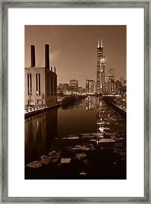 Chicago River B And W Framed Print by Steve Gadomski