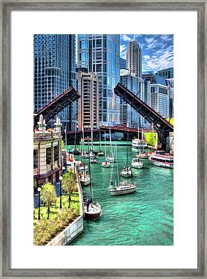 Chicago River Boat Migration Framed Print by Christopher Arndt