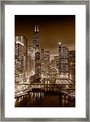 Chicago River City View B And W Framed Print by Steve gadomski