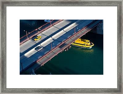Chicago River Crossing Framed Print by Steve Gadomski