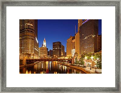 Chicago River Trump Tower And Wrigley Building At Dawn - Chicago Illinois Framed Print by Silvio Ligutti