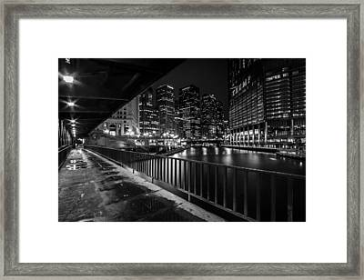 Chicago River View In Black And White  Framed Print by Sven Brogren