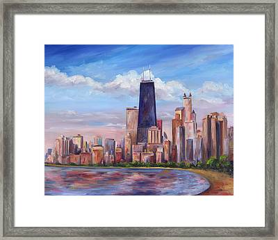 Chicago Skyline - John Hancock Tower Framed Print by Jeff Pittman