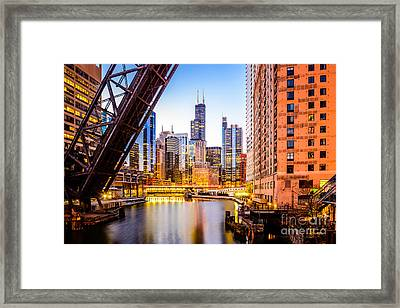 Chicago Skyline At Night And Kinzie Bridge Framed Print by Paul Velgos