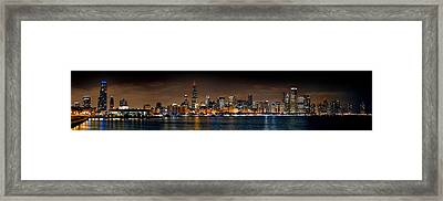 Chicago Skyline At Night Extra Wide Panorama Framed Print by Jon Holiday