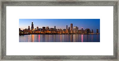 Chicago Skyline Evening Framed Print by Donald Schwartz