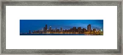 Chicago Skyline From North Ave Beach Panorama Framed Print by Steve Gadomski