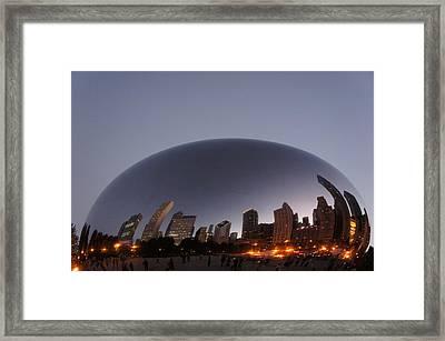 Chicago Skyline Reflection On The Bean Framed Print by Art Spectrum