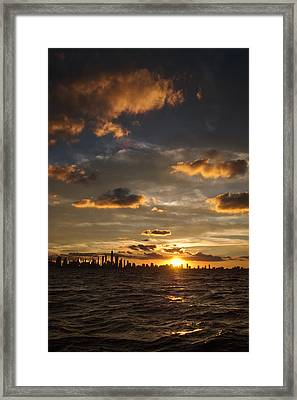 Chicago Skyline Sunset Framed Print by Steve Gadomski