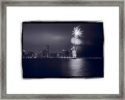 Chicago Skyline With Fireworks Framed Print by Steve Gadomski