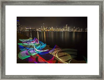 Chicago Skyline With Pixel Stick Painting Framed Print by Sven Brogren