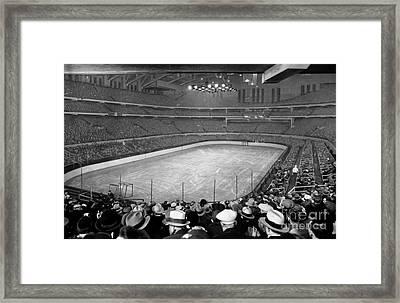 Chicago Stadium Prepared For A Chicago Blackhawks Game Framed Print by Celestial Images