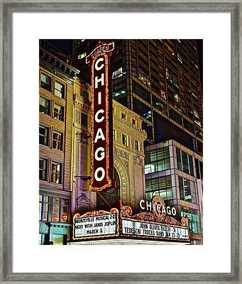 Chicago Theater Aglow Framed Print by Frozen in Time Fine Art Photography