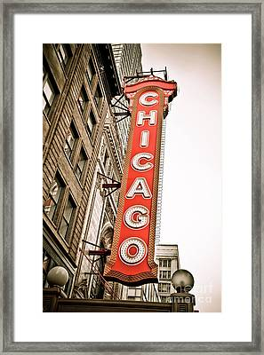 Chicago Theater Sign Marquee Framed Print by Paul Velgos