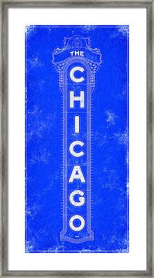 Chicago Theatre Sign - Blueprint Framed Print by Mark Tisdale
