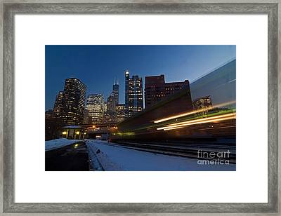 Chicago Train Blur Framed Print by Sven Brogren