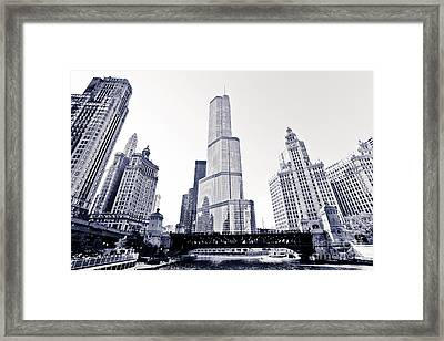 Chicago Trump Tower And Wrigley Building Framed Print by Paul Velgos