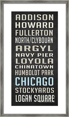 Chicago Vintage Subway Signs Framed Print by Edward Fielding