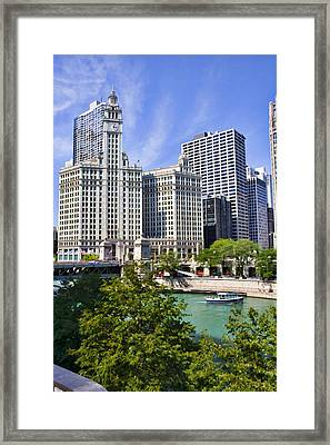 Chicago With Boat Framed Print by Paul Bartoszek