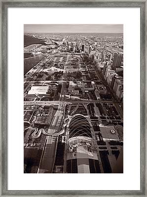 Chicagos Front Yard B W Framed Print by Steve Gadomski