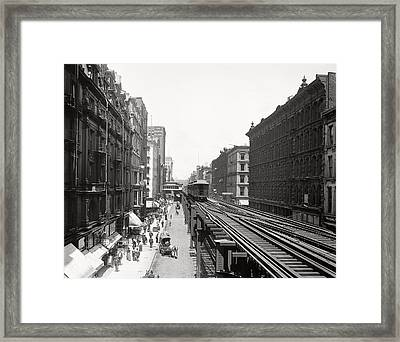 Chicago's Wabash Avenue  1900 Framed Print by Daniel Hagerman