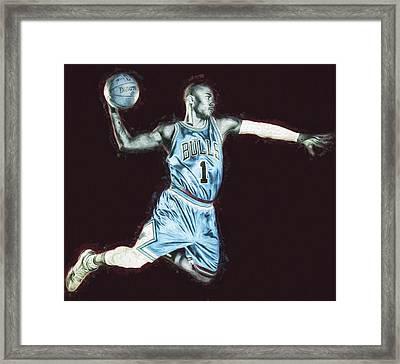Chicao Bulls Derrick Rose Painted Digitally Blue Framed Print by David Haskett