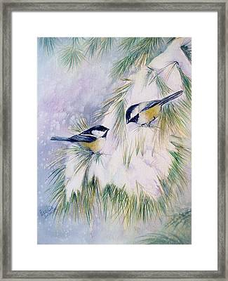 Chickadee Chat Framed Print by Patricia Pushaw