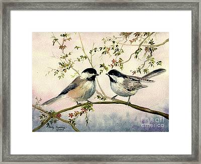 Chickadee Love Framed Print by Melly Terpening