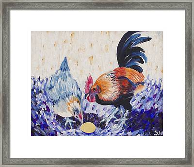 Chicken Family Framed Print by Sophy White