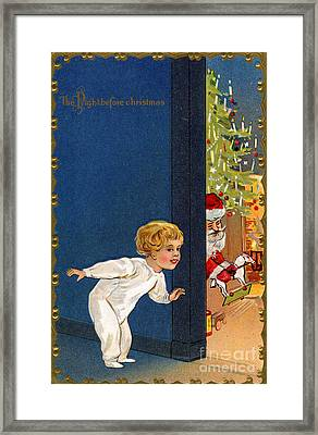 Child Listens As Santa Places Gifts By The Tree On Christmas Eve Framed Print by American School