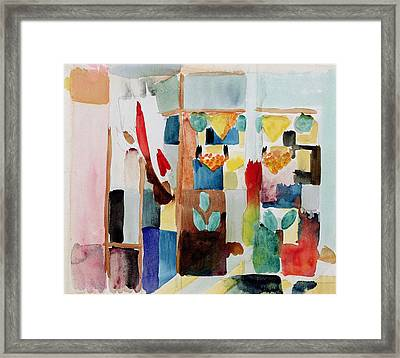 Children At The Greengrocers I Framed Print by August Macke