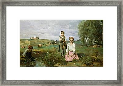Children Beside A Brook In The Countryside, Lormes Framed Print by Jean Baptiste Camille Corot
