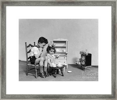 Children Having A Tea Party, C.1930s Framed Print by H. Armstrong Roberts/ClassicStock