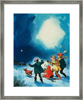 Children In The Snow Framed Print by English School