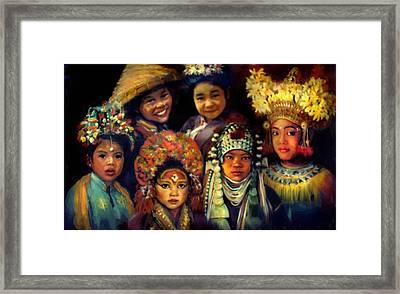 Children Of Asia Framed Print by Jean Hildebrant