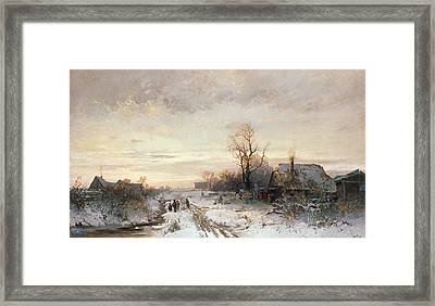 Children Playing In A Winter Landscape Framed Print by August Fink