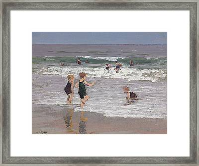 Children Playing In Surf  Framed Print by Edward Henry Potthast