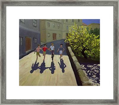 Children Running Framed Print by Andrew Macara