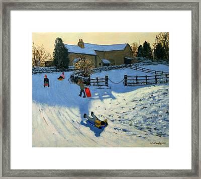 Children Sledging Framed Print by Andrew Macara