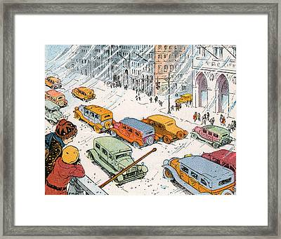 Children Watching City Traffic In A Snowstorm Framed Print by American School