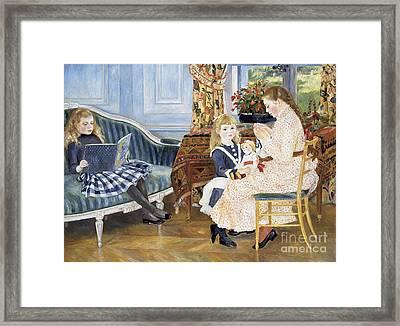 Children's Afternoon At Wargemont Framed Print by Pierre Auguste Renoir