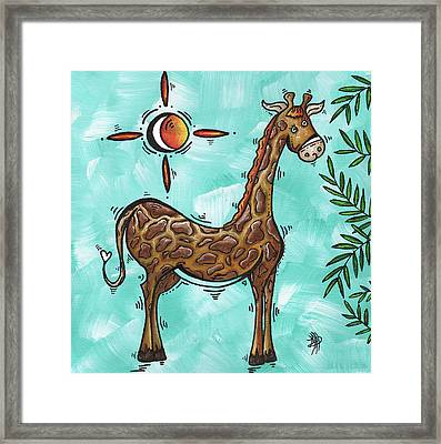 Childrens Nursery Art Original Giraffe Painting Playful By Madart Framed Print by Megan Duncanson
