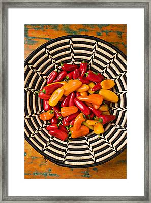Chili Peppers In Basket  Framed Print by Garry Gay