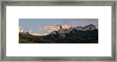 Chimney Peak Panorama Framed Print by Loree Johnson