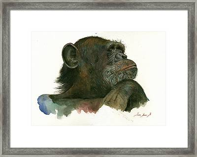 Chimp Portrait Framed Print by Juan Bosco