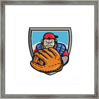 Chimpanzee Baseball Catcher Glove Shield Retro Framed Print by Aloysius Patrimonio