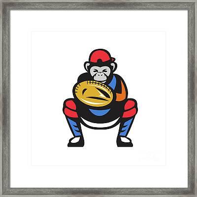 Chimpanzee Baseball Catcher Retro Framed Print by Aloysius Patrimonio