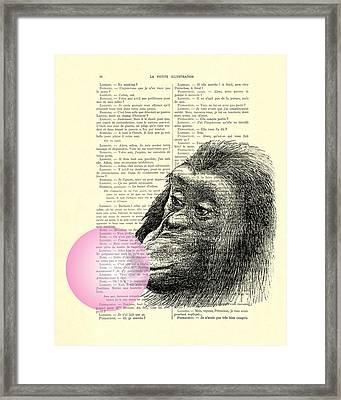 Chimpanzee Pink Bubblegum Nursery Girl's Bedroom Framed Print by Madame Memento