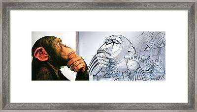 Chimps Don't Draw Framed Print by Nicholas Bockelman