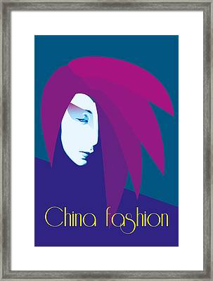 China Girl Blue Framed Print by Quim Abella